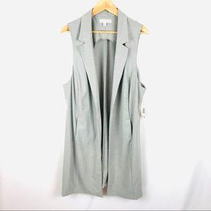 Sleeveless long blazer tunic vest gray side slit